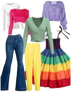 Rainbow Capsule Wardrobe outfit ideas | Creating fun bright looks Outfit Maker, White Long Sleeve, Capsule Wardrobe, Flare Jeans, Bell Bottom Jeans, Long Sleeve Shirts, Outfit Ideas, Rainbow, Bright