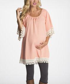 This PinkBlush Light Pink Crochet-Trim Maternity Tunic - Women by PinkBlush Maternity is perfect! #zulilyfinds