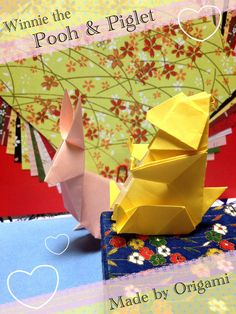 Winnie the Pooh & Piglet made by Origami