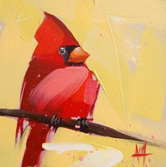 Cardinal no. 64 original bird oil painting by Moulton 6 x 6 inches on panel  prattcreekart