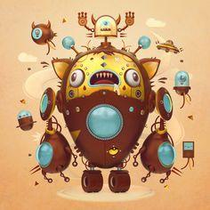 Robots, by @pigmachinee - https://www.artstation.com/artwork/G9LlW #SubstancePainter #ThisIsSubstance