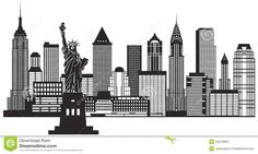 new york skyline aquarell zeichnen und malen. Black Bedroom Furniture Sets. Home Design Ideas