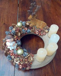 Ornament Wreath, Ornaments, Floral Design, Christmas Decorations, Wreaths, Home Decor, Decoration Home, Door Wreaths, Room Decor
