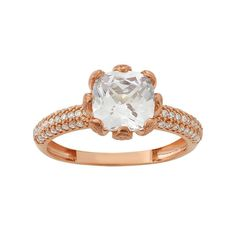 Cubic Zirconia 10k Rose Gold Blossom Ring, Women's, Size: 7, White