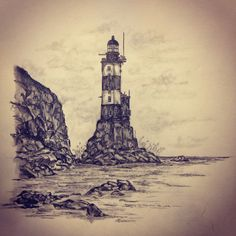 Aniva abandoned lighthouse tattoo sketch by - Ranz