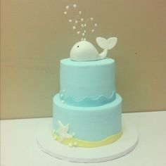 Baby shower whale cake....All Things Cake, Tulsa