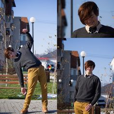 Handmade Double Tie, Black Sweater, Mustard Boots, Pull Basic Chinos Style Trousers