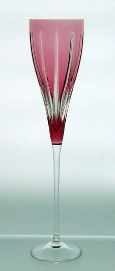 Fayette Gold Ruby Red Champagne Flute - Serve Champagne, Sekt, Spumante, from Moet & Chandon?s Dom Perignon, through Mumm to Taittinger in fine lead crystal champagne glasses handmade of cased crystal. - Fayette Champagne Flute