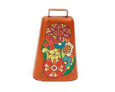 Vintage Cowbell, Orange Flower Power Painted Cow Bell, circa 1960s