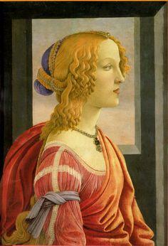 ❤ - SANDRO BOTTICELLI ( 1445 - 1510) -  Portrait of Simonetta Vespucci.