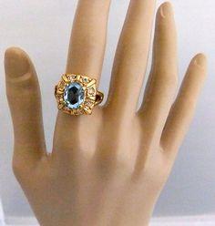 Rhodium Plated Faux Torgouise Crystal Ring by ediesbest on Etsy, $22.95