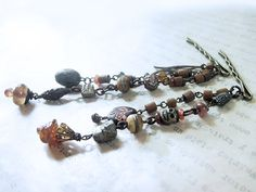 Pirate Queen. Victorian Tribal bead strand hairpins with lampwork, pyrite, yak bone, rustic gypsy antique vintage.