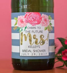Really cute idea for a garden themed bridal shower favor!  Floral Bridal Shower Mini Champagne Label - Peony Bridal Shower Mini Wine Label