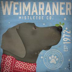 Weimaraner Dog Mistletoe Company graphic artwork by geministudio
