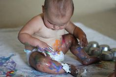 Help your child learn to identify body parts with colored cream.  Toddlers love this kids activity