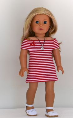 American Girl doll in jersey dress Sewing Doll Clothes, Girl Doll Clothes, Doll Clothes Patterns, Girl Dolls, Ag Dolls, Clothing Patterns, Barbie Clothes, Doll Patterns, Dress Patterns