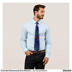 Colorful Distressed Dot Pattern Tie