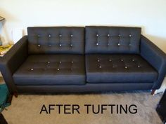 tuffed couch with chase | IKEA Karlstad sofa makeover with button tufting