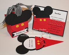 Stampin' Up! Punch Art Teresa Giordano Mickey Mouse Party Invite Favor Box