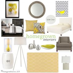 Yellow and Grey Bedroom Mood Board...love this color scheme... Redoing my bedroom in these colors!