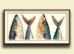 Hey, I found this really awesome Etsy listing at https://www.etsy.com/listing/182147133/print-mackerel-fish-fishes-watercolor
