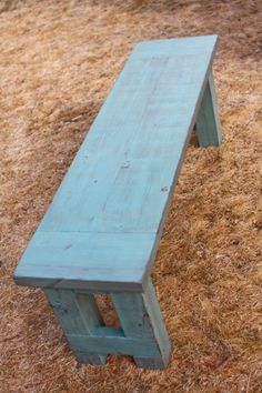 "This 52"" farmhouse bench needed an aged, rustic finish. To get the look I was going for, I used a five step finishing process: First I stained the bench with this alcohol-based stain in Dark Walnut..."