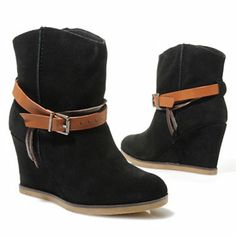 MIA Suede Leather Belt & Buckle Detailed Short Wedge Boots