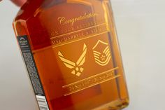Custom Etched Military Retirement bottles, at Etchingx.com