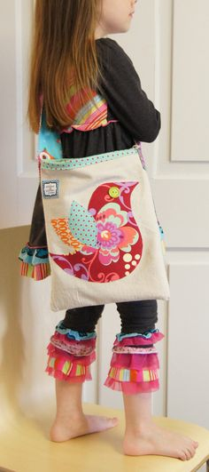 Red Bird Appliqued Canvas Crossbody cross body by cottonandclover, $29.00