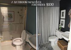 Dear Lillie - Mini Bath redo - love the curtains and rug Dear Lillie, Splish Splash, Guest Bath, Powder Room, Master Bathroom, New Homes, Bath Ideas, Bathroom Ideas, Curtains