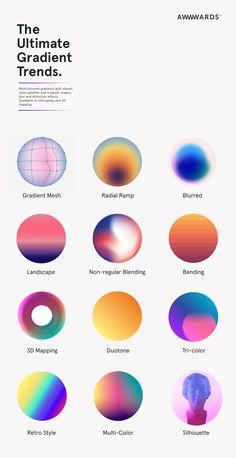 Trendy gradients in web design. - Graphic - Trendy gradients in web design. Graphisches Design, Graphic Design Trends, Graphic Design Posters, Layout Design, Design Elements, Graphic Design Branding, Web Design Color, Graphic Design Illustration, Product Design Poster