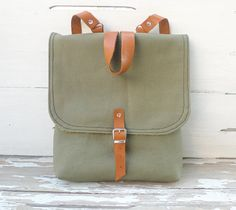 Christmas Sale 10% Off - Khaki Waxed Canvas  Mini Backpack  for Kids and Adults with Adjustable Leather Strap / School / Travel. $69.00, via Etsy.