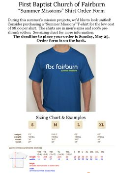 """""""Summer Missions"""" shirt order forms: got yours? They're due on Sunday, May 25!! $8 per shirt, see details in photo or contact the church office @ 770-964-1431 during business hours."""
