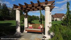 Custom timber framed pergola swing from WesternTimberFrame.com.