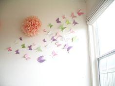 30 Butterflies, 3D Butterfly Wall Art, 3D Butterflly Wall Decor, Nursery, Baby Shower, Girls Room, Cardstock, Eco-friendly