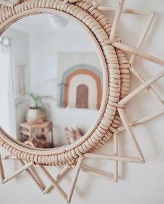 Rattan star mirror by Baskets On Wall, Eclectic Decor, Modern Boho, Home Decor Inspiration, Decor Ideas, Bohemian Decor, Decor Interior Design, Diy Home Decor, Creations