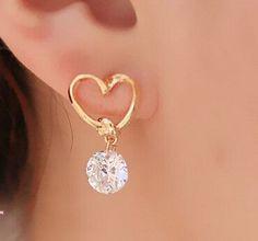 e020 Brand Design New hot Fashion Popular Luxury Crystal Zircon Stud Heart Earrings Elegant earrings jewelry for women 2016