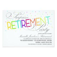 "Surprise Retirement Party Invitations 5"" X 7"" Invitation Card"