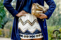 sequin chevron skirt super cute - still seeing lots of chevron styles Look Fashion, Street Fashion, Womens Fashion, Fashion Hub, Skirt Fashion, Fashion Shoes, Chevron Skirt, Patterned Skirt, Aztec Skirt
