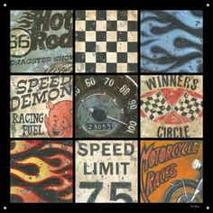 hot rod themed rooms | Pretty cool vintage racing art...