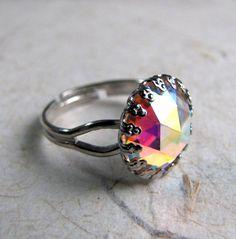 Rainbow Prism Ring  Crystal Aurora Borealis by AshleySpatula, $13.50
