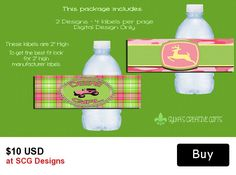 John Deere Girl, JD Girl, Tractor Girl Personalized Bottle Labels