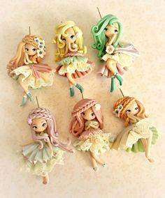 44 New Ideas doll cute kawaii polymer clay Polymer Clay Fairy, Polymer Clay Figures, Cute Polymer Clay, Polymer Clay Dolls, Cute Clay, Polymer Clay Miniatures, Polymer Clay Charms, Polymer Clay Creations, Polymer Clay Jewelry