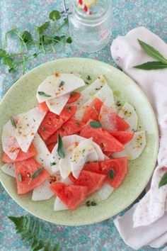 Watermelon Salad with Radish and Sage at Cooking Melangery by Melangery