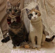 life sized needle felted cats - wedding