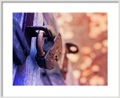 Oksana Ariskina Framed Print featuring the photograph Vintage Lock by Oksana Ariskina on @pixels and @fineartamerica  Buy print and other product with my fine art photography online: www.oksana-ariskina.pixels.com      #Door #Lock #ArtForHome #Violte #Orange #retro #rustic #Texture #FineArtPrints #Interior Design