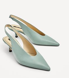 The Internet Would Like You To Replace Your Shoes With These: Zara Slingback High Heels Leather High Heels, High Heel Boots, High Heel Pumps, Pumps Heels, Small Heel Shoes, Leather Shoes, Zara, Slingback Shoes, Comfortable Heels