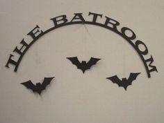 The Batroom Halloween Decorative Wall Sign. $15.00, via Etsy.