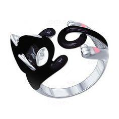 Серебряное кольцо в виде котенка с эмалью и фианитами