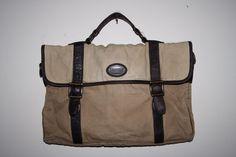 Vintage Retro Fossil Bag Cross Body Men s Beige Canvas Leather Fashion Designer